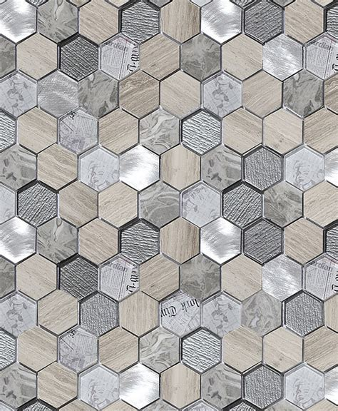 grey large hexagon marble glass mosaic tile