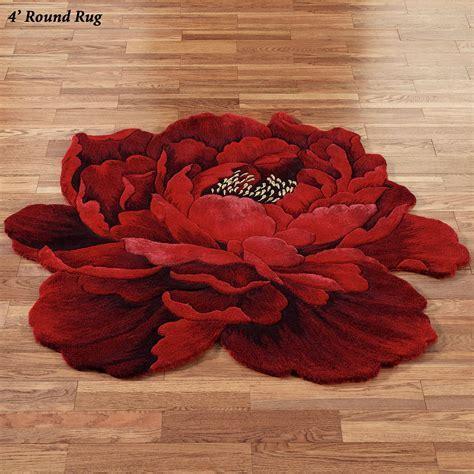 Scarlet Magic Peony Flower Shaped Round Rugs