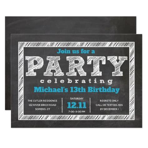Boy Birthday Invitation Chalkboard Blue Invitation