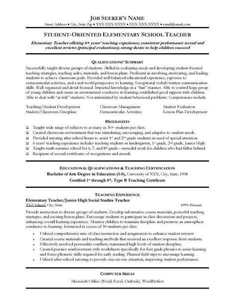 Skills For Teaching Resume by Resume Exles Templates Free Sle Format Teaching