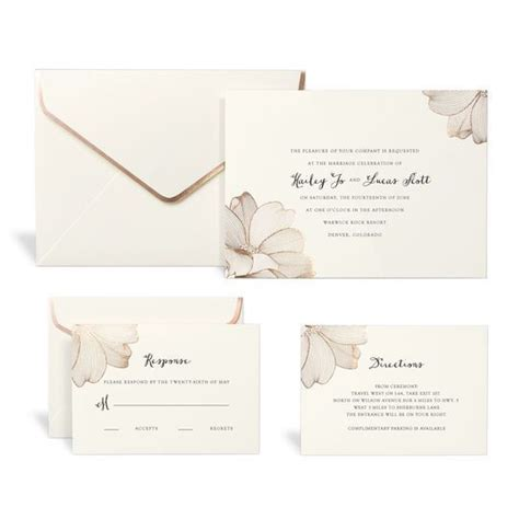 rose gold floral wedding invitation kit by celebrate it