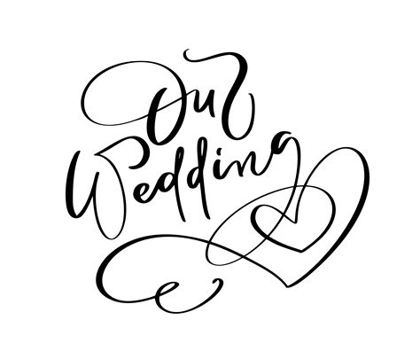 wedding day vector lettering text  heart  white