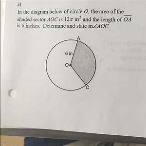 In The Diagram Below Of Circle O  The Area Of The Shaded