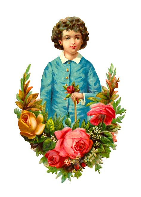 child roses antique images free child clip art graphic of boy holding red rose with flower wreath of roses