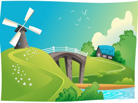 Windmill Wallpaper Animated - wind mill landscape backgrounds nature travel templates