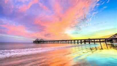 4k Beach California Wallpapers Nature Pier Sky