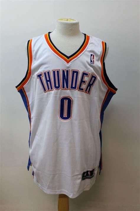 bnwt nba adidas mens white westbrook thunder signed