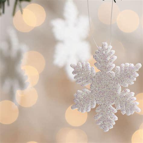 white glitter snowflake ornaments christmas ornaments