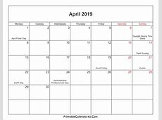 April 2019 Calendar Printable with Holidays PDF and JPG