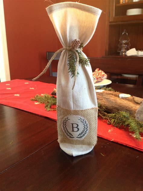 diy monogrammed wine bottle bag pottery barn inspired