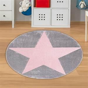 Teppich Rosa Grau : runder teppich mit stern grau rosa teppich4kids ~ Orissabook.com Haus und Dekorationen