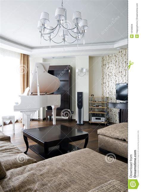 interior  living room  white piano stock photo
