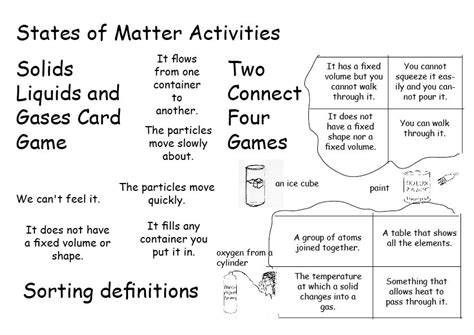 14 best images of states of matter matching worksheet