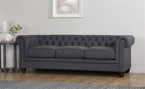 Chesterfield Fabric Sofa by Hton Slate Grey Fabric 3 Seater Chesterfield Sofa