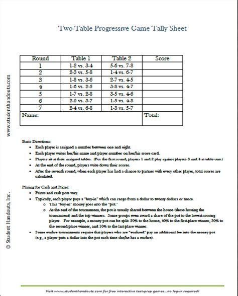 Printable Bridge Score Sheet Template Free Printable Two Table Tally Score Sheets For Euchre
