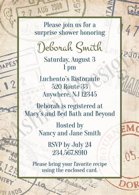 customizable travel themed party invitation  print