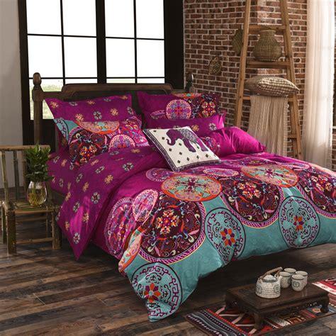 vintage bed set luxury bohemian bedding set 4pcs king size