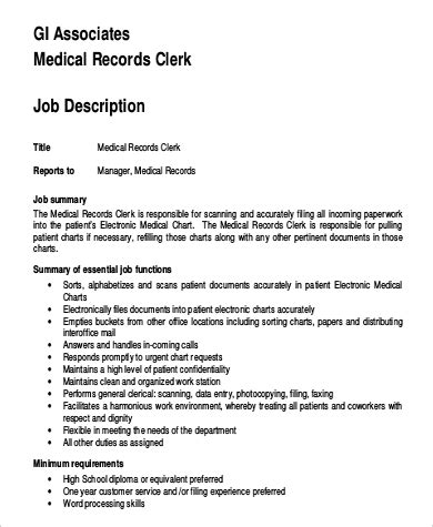 Records Description Resume by Records File Clerk Description Cover Letter