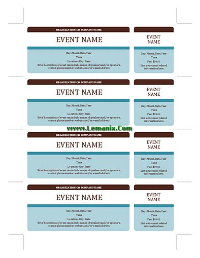 Publisher Ticket Template by Event Tickets Microsoft Publisher Templates For Publisher