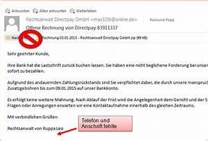 Offene Rechnung Giropay : schadhafte email rechnung von rechtsanwalt direktpay ~ Themetempest.com Abrechnung