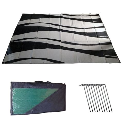 outdoor patio mats 9x12 rv awning mat reversible outdoor 9x12 black silver wave