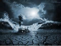 modern surrealism ocean pour out water desert train  neo-surrealism  Modern Surrealism Wallpaper