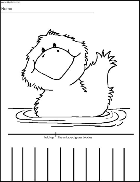 cutting practice with a duck to color printable clip 154 | 415525fdea12d3e8526f0fd107594cdb