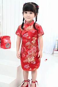 Aliexpress.com  Buy Cute Girlsu0026#39; summer Dresses Kid Chinese chi pao cheongsam New Year gift ...
