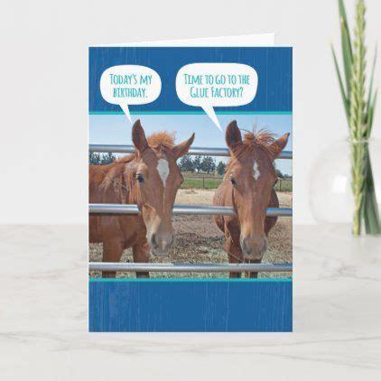 horses funny glue zazzle card horse