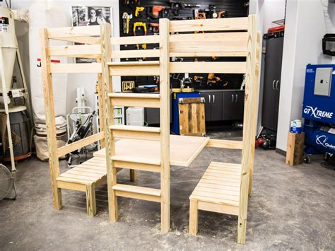loft bed with table and benches how to build a loft bed with a built in table and benches
