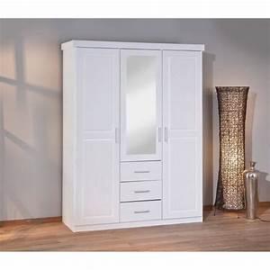Armoire Blanche Miroir : armoire blanche adulte 3 portes dont 1 miroir et 3 tiroirs achat vente armoire de chambre ~ Teatrodelosmanantiales.com Idées de Décoration