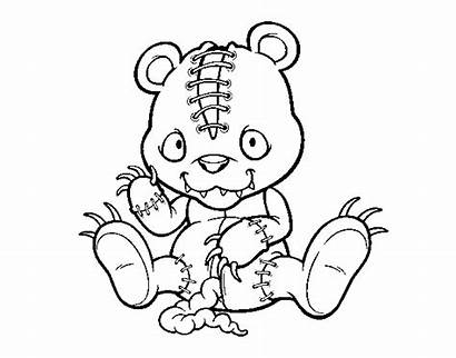Coloring Scary Pages Teddy Tattered