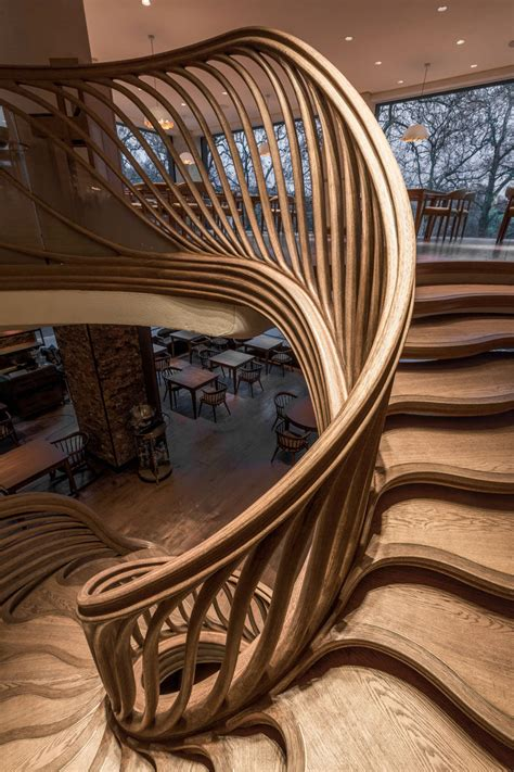 Ways Spruce Staircase by 16 Photos Of An Amazingly Sculptural Wood Staircase Inside