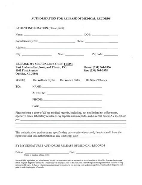 release of mental health records form patient forms opelika al east alabama ent