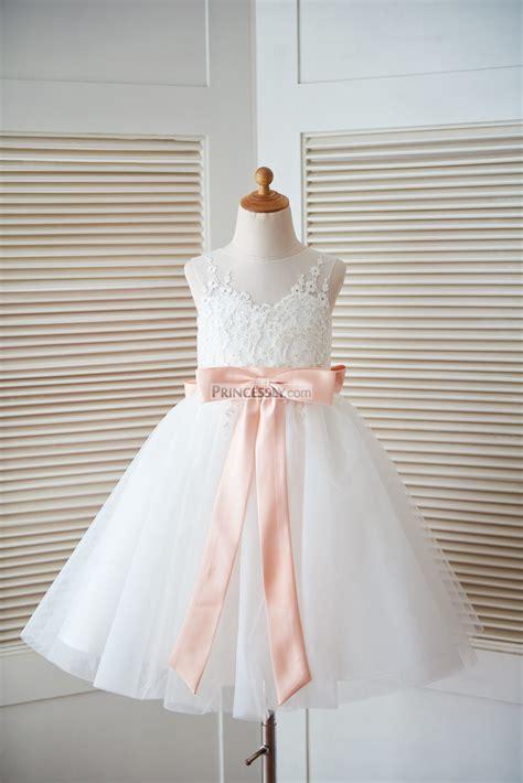 ivory lace tulle keyhole  wedding flower girl dress