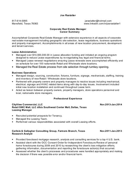 joe rastatter resume corporate real estate manager 02 26 14
