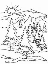 Coloring Mountain Pages Sunrise Snowy Holidays Sky sketch template