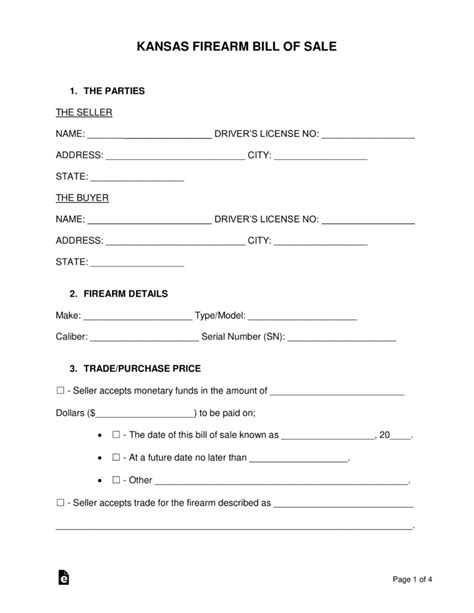 Boat Bill Of Sale Kansas by Free Kansas Firearm Bill Of Sale Form Word Pdf