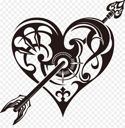 heart tattoo drawing clip art tribal heart cliparts png