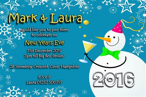 happy new years postcard 10 personalised new years party invitations no4