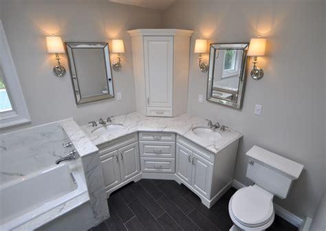Diy Bathroom Vanity Tower by Custom Master Bathroom With Corner Vanity Tower