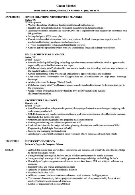 architecture manager resume sles velvet