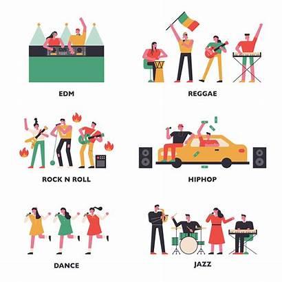 Genres Musicians Various Related Clipart Vector Vectors