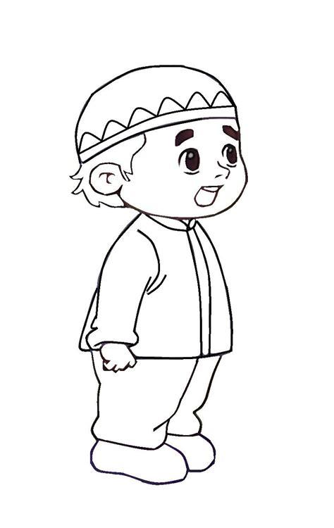 warnakan gambar kartun anak muslim azhan co