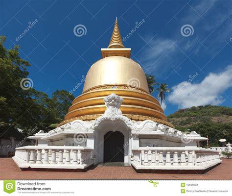 buddhist stupa  golden temple sri lanka stock image