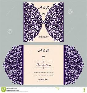 Die cut wedding invitation card template paper out with for Laser cut wedding invitations houston
