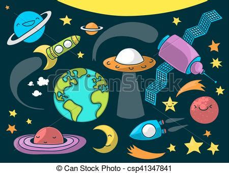 cute outer space cartoon cute illustration  outer space