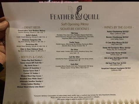 menu  feather  quill restaurant windermere