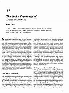 Pdf  The Social Psychology Of Decision Making