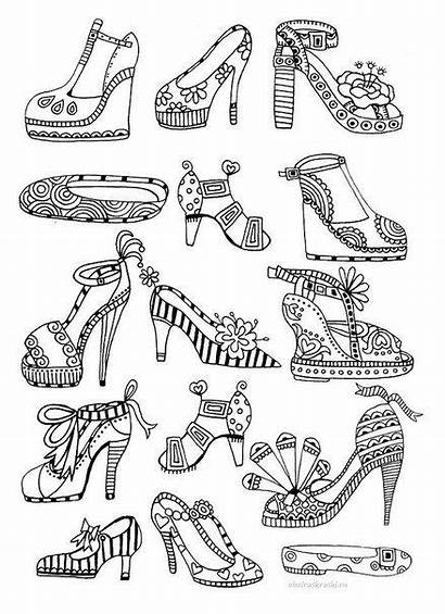 Coloring Heels Pages Adult Adults Shoes Colouring